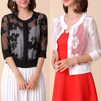 New Women Casual Bolero Shrug Cardigan 3/4 Sleeve AU Size 10 12 14 16 18 20 3769