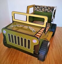 NEW! Commander Safari Jeep Khaki Green & Yellow 3ft Single Childrens Bed Frame
