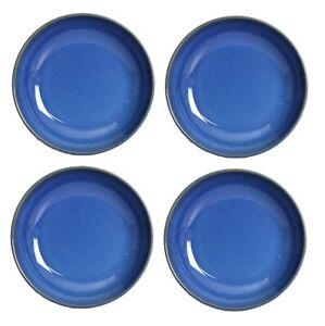 4pc Blue Reactive Stoneware Kitchen Spaghetti Food Serving Round Pasta Bowl Set