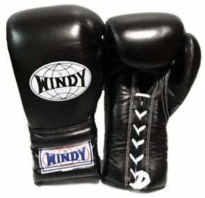 WINDY BOXING GLOVES LACE UP BGL BLACK 8,10,12,14,16,18,20 OZ. MUAY THAI  K1 MMA