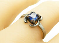 925 Sterling Silver - Vintage Prong Set Blue Topaz Smooth Band Ring Sz 8- R13502