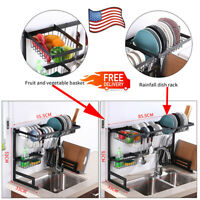 """Over Sink Dish Drying Rack Stainless Steel Cutlery Drainer Kitchen Shelf 25""""/33"""""""