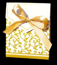 30 cajitas boda comunión blanca y dorada con lazo