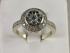Cute! Ladies Halo Diamond 14KT White Gold Cocktail Ring 1.00ctw Size 5.5