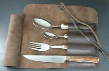 HUBERTUS TRAVELLER'S PICNIC CUTLERY SET KNIFE 2 SPOON FORK in LEATHER BAG / STAG