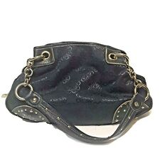"Kathy Van Zeeland Purse 14x9"" Handbag Tote Hand Bag Navy Blue Studded"