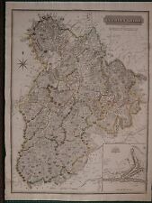 1821 LARGE DATED MAP PEEBLESSHIRE JOHN THOMSON ATLAS of SCOTLAND PEEBLES PLAN