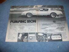 """1978 Pontiac DKM Macho T/A Vintage Info Article """"Pumping Iron"""" Trans Am Firebird"""