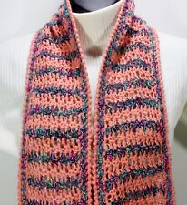 MEO CROCHET SCARF 81 X 6 MULTICOLOR PINK METALLIC PURPLE MOHAIR BLEND SHAWL KNIT