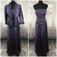 Cachet Womens Formal Evening Dress Jacket 2pc Mother Of Bride Purple Sz 12 Large