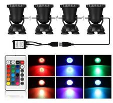 Lot 4 Submersible 36 LED RGB Pond Spot Lights for Underwater Pool Fountain USA #