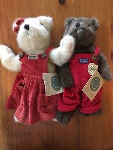 Boyds Bears Tillie And Christopher RARE Red Corduroy Overalls Christmas