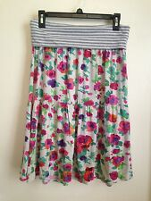 O'Neill Soft Colorful Floral and Gray Striped Fold Over Waist Skirt Jr L