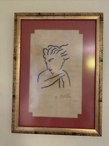 Henri Matisse Portrait Drawing Signed Framed Glazed 1855/1952