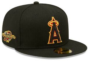 MLB Los Angeles Angels New Era 59FIFTY Fitted Hat 2002 World Series Black Yellow