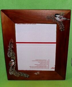 Original artwork of perched CHICKADEES on WOOD FRAMED MIRROR by Donna Johnston .