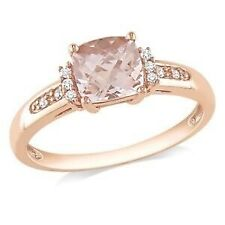 2Ct Cushion Morganite Syn Diamond Solitaire Engagement Ring Rose Gold Fns Silver