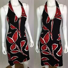 $329 David Meister Women's 10 Black Red Halter  Jersey Stretchy Sheath Dress