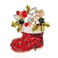 Charming Rhinestone Women Girl Christmas Shoe Brooch Pin Fashion Jewelry Gift
