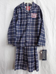 New York Giants 2 Pc Flannel Pajamas 100% Polyester Flame Resistant NWT