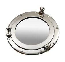"12""D Nickel Finish Porthole Mirror Ship Nautical Decor Wall Mount Round Silver"