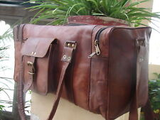 "25"" Men's genuine Leather large vintage duffle travel gym weekend overnight bag"