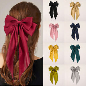 Satin Double Tail French Barrette Bow Long Hair Clips Pins Women Girls
