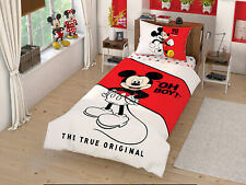 Mickey Mouse Bedding 100% Cotton Single/Twin Size Duvet Cover Set + Fitted Sheet
