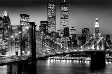 New York Manhattan Night Time City Black Poster - A5 A4 A3 A2 A1 A0 Sizes Art