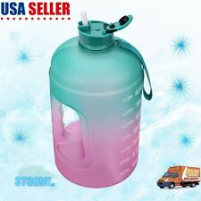 New listing Large 1 Gallon/128oz Water Bottle Motivational Workout W/ Time Marker and Straw