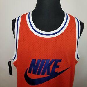 Nike Sportswear Statement Mesh Jersey Tank Mens Sz Large Orange Blue AR9892-891
