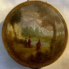 Antique 18 Century French Hand Painted Gilded Metal Box Signed LeBrun Rare.