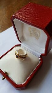 Genuine Ladies Cartier Gold and Saphire Ring