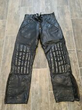 "Early Talon Zip Vtg BlacK Leather Motorcyle Riding Pants Mens S 28x27"" 11"" rise"
