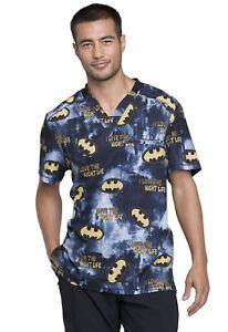 Cherokee Tooniforms Men's Batman Print V-Neck Scrub Top - TF730