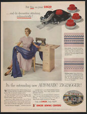 1955 SINGER SEWING CENTERS New Automatic Zigzagger Machine VINTAGE ADVERTISEMENT
