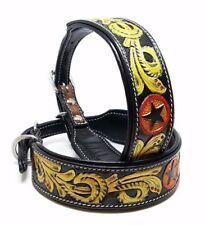 "16"" TOOLED TEXAS STAR MADCOW WESTERN COWBOY WESTERN STYLE LEATHER K9 DOG COLLAR"