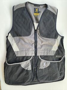 Browning Shooting Vest Black and Grey with ventilation size lg L Large 73765