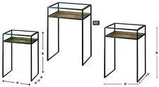 "26"" MODERN INDUSTRIAL SIDE END TABLE  *Black Iron, Wood & Glass* NIB"