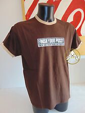 Vintage 90 PUSSY XL USATO Maglietta T-Shirt Top Marrone USA 80 Finish Your