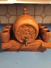 UNIQUE Vintage WOOD BARREL CARVED W/ 6 MUG & Stand Decorative Piece 10 Pcs.