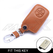 2 Buttons Remote Leather Key Case Cover for Toyota Camry Highlander Prado Brown