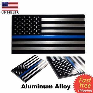 ALUMINUM Blue Lives Matter Thin Blue Line American Flag decal sticker 3.2 x 1.75