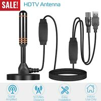 50 Miles Range Flat Indoor HD Signal Amplifier Digital TV Antenna HDTV VHF UHF