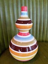 "2004 Jonathan Adler Happy Home Italia Double Gourd Pottery Vase 8"" Striped MCM"