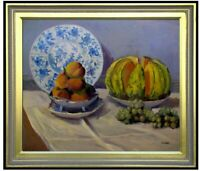 Framed, Monet Still Life with Melon Repro, Hand Painted Oil Painting 20x24in
