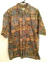 Tori Richard Mens Large Multicolor Short Sleeve Light Hawaiian Button Up Shirt