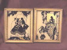 2 VINTAGE SILHOUETTE PICTURES, COURTING COUPLES,GOLD TRIMMED  WOODEN FRAMES