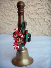 Vintage Brass Bell Wooden Handle Bell with Lead Solder Ball