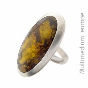 Großer Modernist Silber Ring Bernstein Oval vintage amber silver ring 🌺🌺🌺🌺🌺